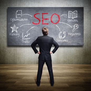 SEO image on blackboard